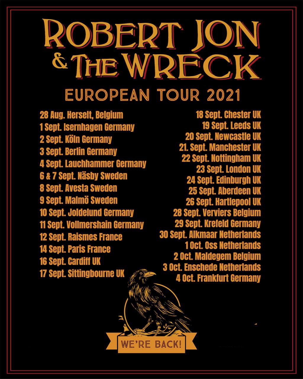 Robert Jon European tour 2021